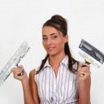 Girl plastering — Stock Photo