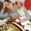 Young woman is ill in bed She is feeling miserable — Stock Photo #9306259