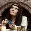 Fortune-teller with tarot cards — Stock Photo