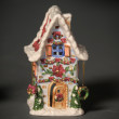 Ceramic Christmas small house — Stock Photo