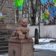 Lion sculpture in front of Saint-Petersburg Buddhist Temple Gunz — Stock Photo #9782228