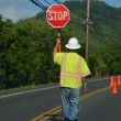 Worker with Stop sign - Stock Photo