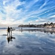 Stock Photo: Sunset at beach of SDiego with surfers