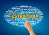 Hand pointing at a Estrategia Word Cloud on blue background. — Foto de Stock