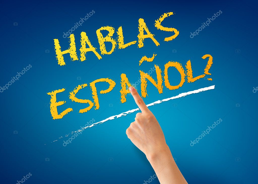 Finger pointing at a Hablas Espanol illustration on blue background. — Stock Photo #10552206