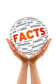 Hands holding a Facts Sphere — Stock Photo
