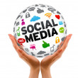 Hands holding a Social Media Sphere — Stock Photo #8950098