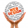 Hands holding a Web Design Sphere — Stockfoto #8968370