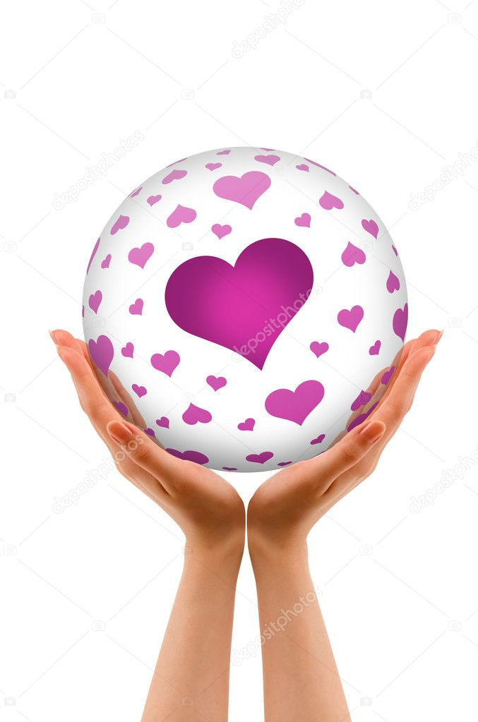 Hands holding a 3D Love Sphere with hearts on white background.  Stock Photo #8962705