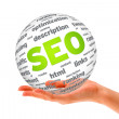 Hand holding a SEO 3D Sphere — Stock Photo