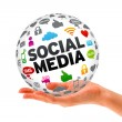Hand holding a Social Media 3d Sphere — Stock Photo