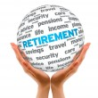 Hands holding Retirement 3D Sphere — Stock Photo #9169289