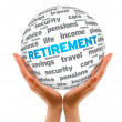 Stock Photo: Hands holding Retirement 3D Sphere