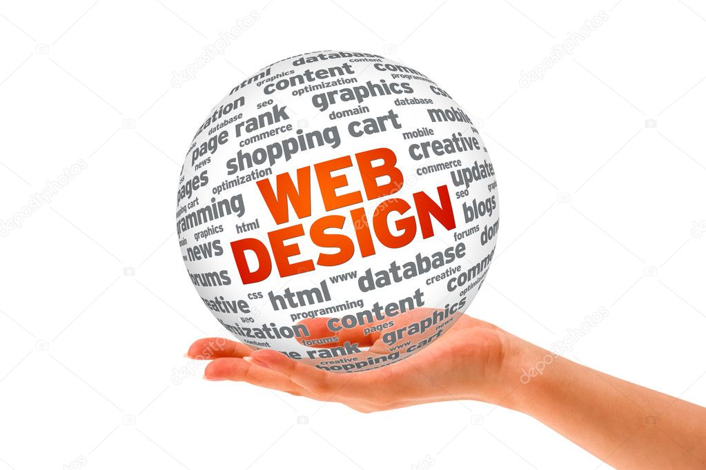Hand holding a  Web Design 3D Sphere on white background. — Stock Photo #9166069