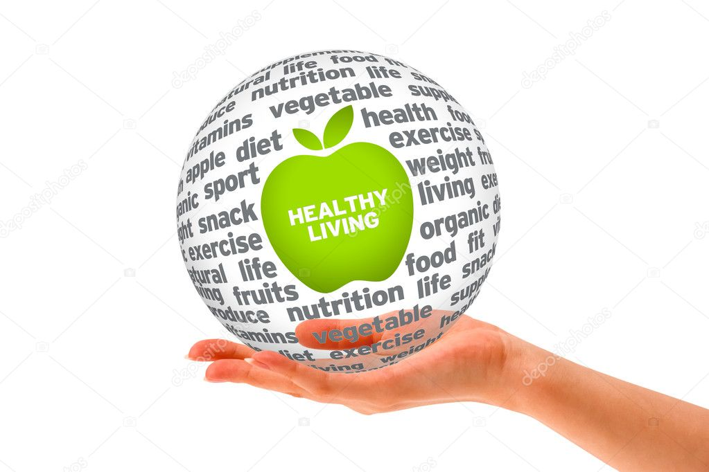 Hand holding a Healthy Lifestyle Sphere on white background. — Stock Photo #9234054