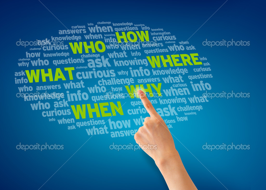 Finger pointing of a question cloud on blue background. — Stock Photo #9399141