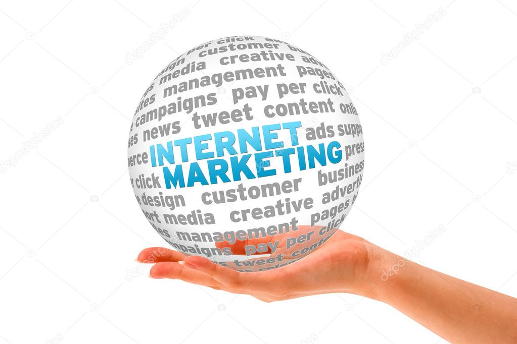 Hand holding a Internet Marketing 3d Sphere. — Stock Photo #9622779