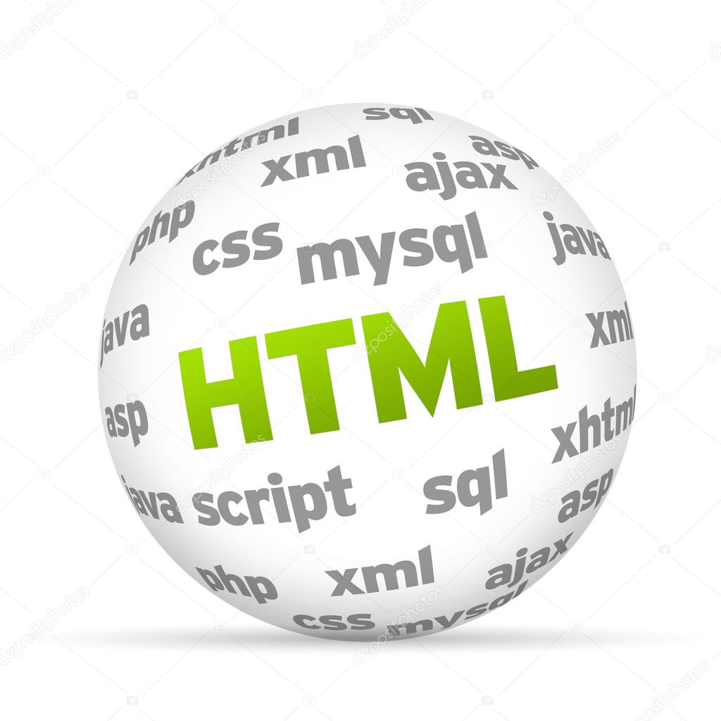 3D  Hyper Text Markup Language Sphere on white background. — Stok fotoğraf #9839152