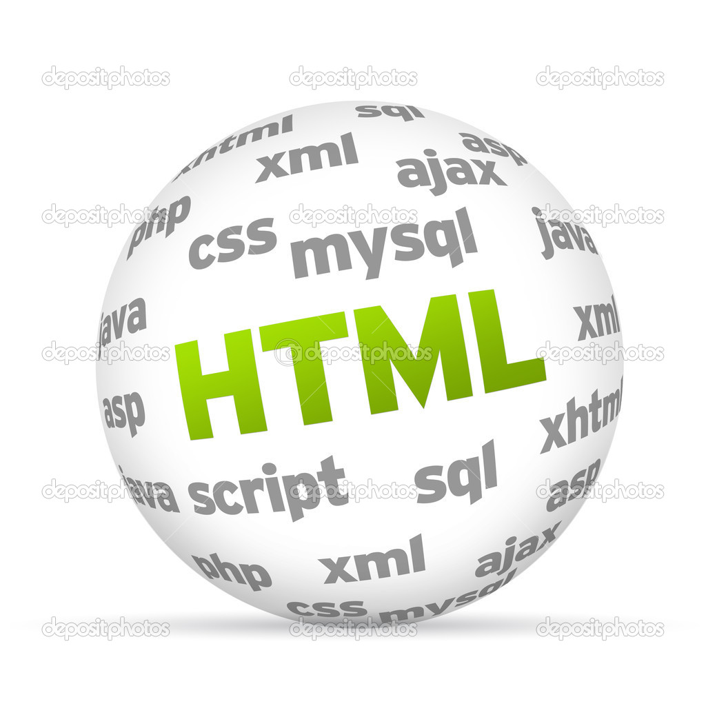 3D  Hyper Text Markup Language Sphere on white background. — Lizenzfreies Foto #9839152