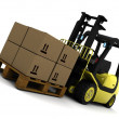 Yellow Fork Lift Truck Isolated on White — Stock Photo