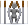 Man escaping Cigarette Prison — Stock Photo