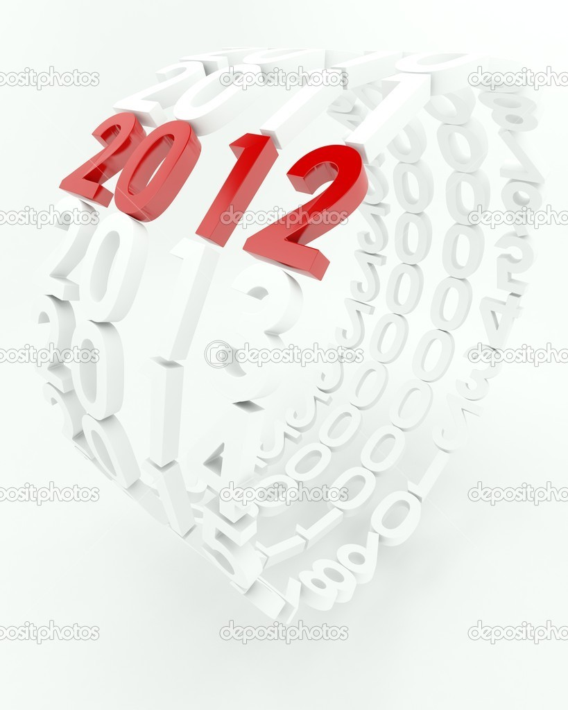 3D render depicting new year 2012transition — Foto Stock #9274046