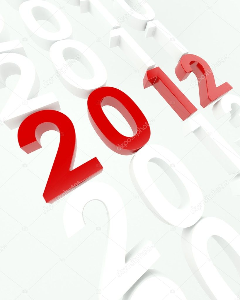 3D render depicting new year 2012transition  Stock Photo #9274068