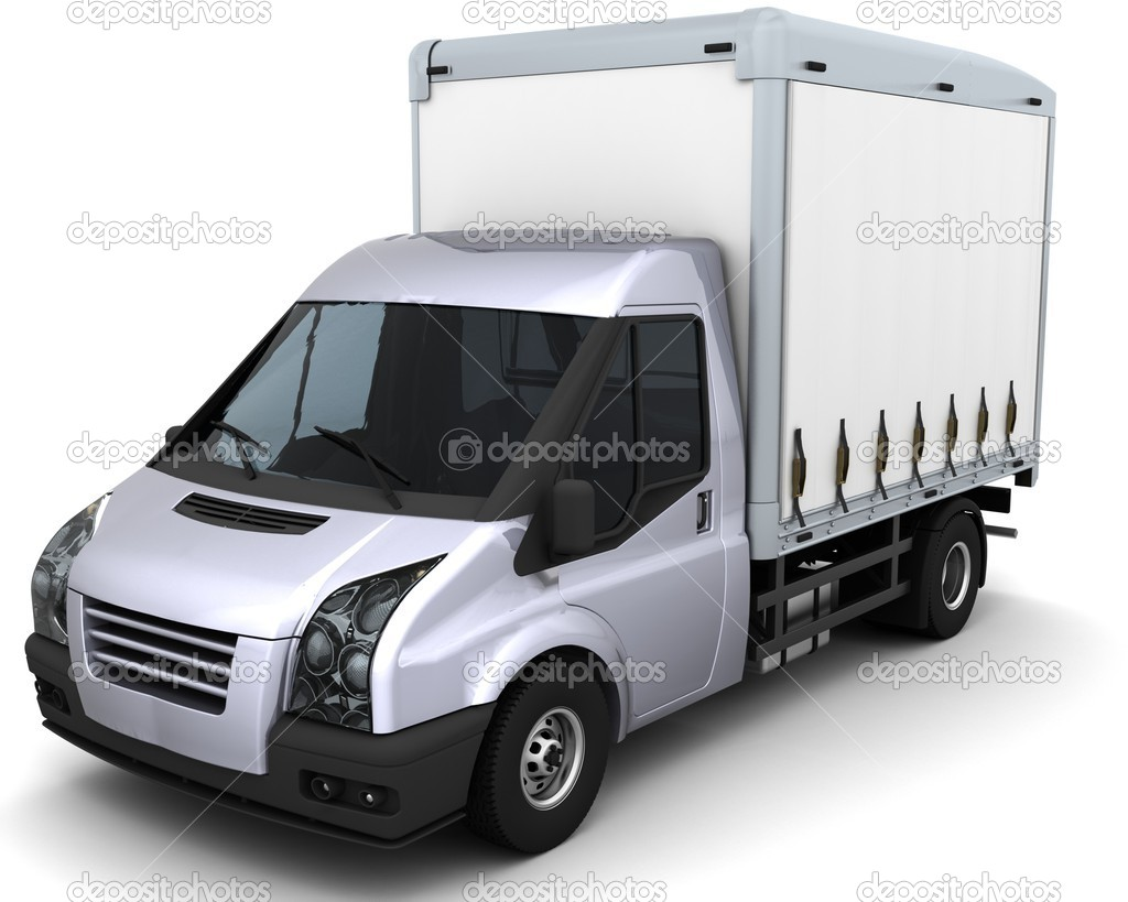 3D Render of a curtain side van  Foto Stock #9275836