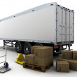 Freight trailer and shipping boxes — Stock Photo