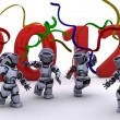 Robot Bringing the new year in — Stock Photo