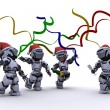 Robots celebrating at a christmas party - Stock Photo