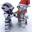 Robot building a snowman - Stock Photo