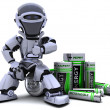 Robot with Batteries - Stock Photo