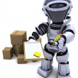 Robot with Shipping Boxes — Stockfoto