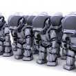 Robot shutting down army of robots - Stock Photo