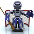 Robot playing icehockey - Stock Photo