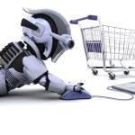 robot bir laptop hediye alışveriş — Stok fotoğraf