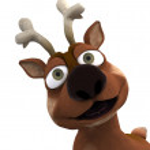 Cute reindeer charicature — Stock Photo
