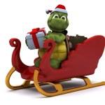 Tortoise santa character — Stock Photo #9288081