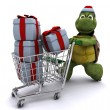 Tortoise santa character — Stock Photo #9288325