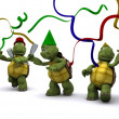 Tortoises celebrating at a party - Stock Photo