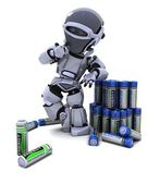 Robot with batteries — Stock Photo