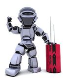 Robot with a capacitor — Stock Photo