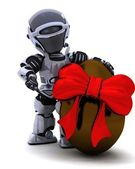 Robot with easter egg — Stock Photo