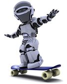 Robot with skateboard — Stock Photo