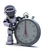 Robot with a Traditional chrome stop watch — Stock Photo