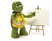 Tortoise with easel and paint palette — Stock Photo