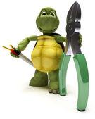 Tortoise with wire cutters — Zdjęcie stockowe