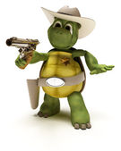 Cowboy Tortoise with Stetson and pistol — Stock Photo