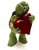 Tortoise Caricature hugging a heart — Stock Photo